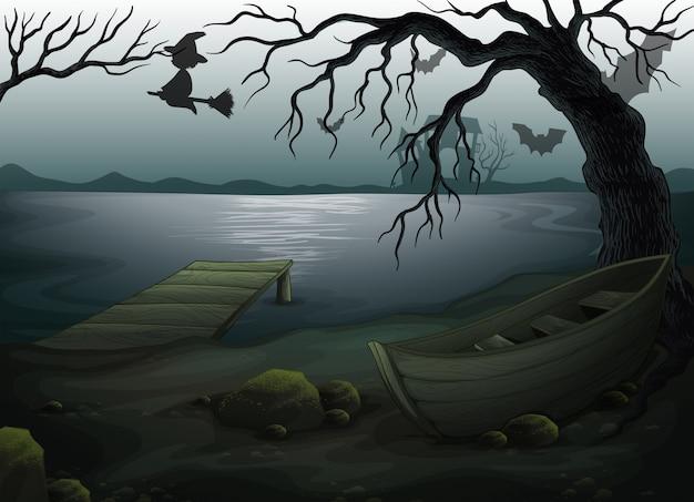 Um barco de madeira debaixo da árvore