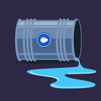 Um barril de água caiu e saiu. formação de poças. ilustração plana.