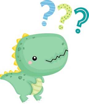 Um bebê dinossauro fofo com uma expressão confusa