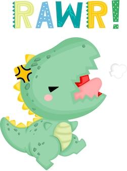 Um bebê dinossauro fofo com uma expressão de raiva