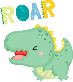 Um bebê dinossauro fofo com uma expressão fofa que ruge