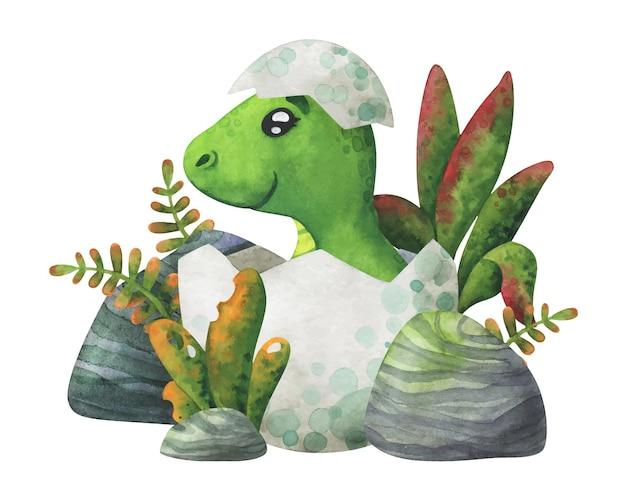 Um bebê dinossauro verde eclodiu de um ovo na selva. personagem fofa para decoração com animais