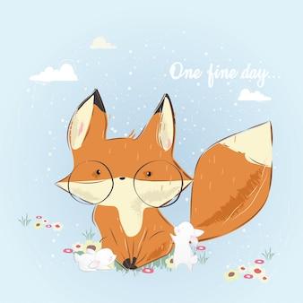 Um belo day_fox e coelhinhos