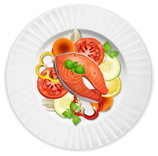 Um bife de salmão closeup e salada