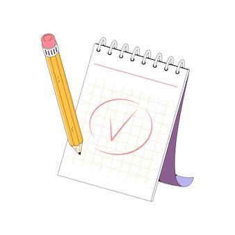 Um bloco de notas para fazer anotações a nota de escrita a lápis marca concluída