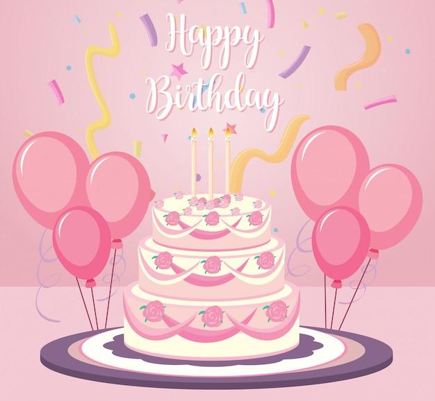 Um bolo de aniversário no fundo rosa