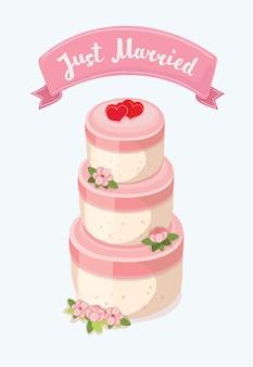 Um bolo de casamento elegante decorado com flores e chapéus de coco da noiva e do noivo.