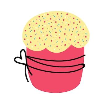 Um bolo legal em uma ilustração vetorial de fundo branco