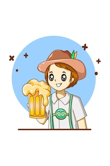 Um bom menino comemorando oktoberfest com ilustração de cerveja em desenhos animados