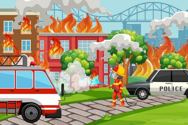 Um, bombeiro, ajudando, serviço