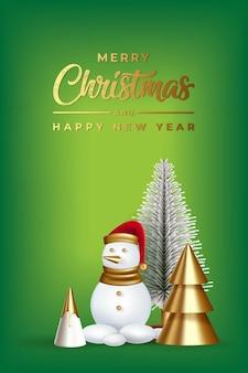 Um boneco de neve realista árvore de natal cones decorativos com mery natal e feliz ano novo
