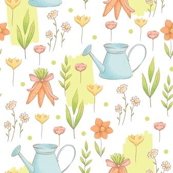 Um bonito padrão sem emenda com regadores, cenouras e flores sobre o tema do jardim primavera páscoa padrão imitação de aquarelas artesanais plano de desenho animado