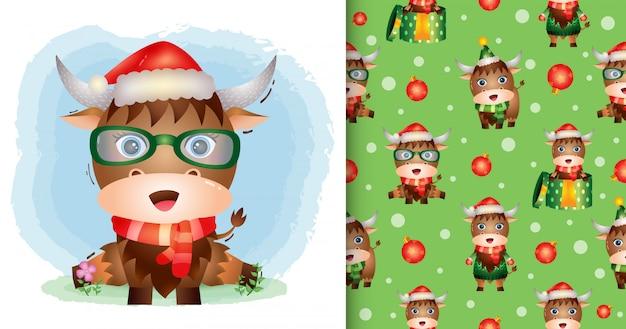 Um búfalo fofo personagens de natal com chapéu de papai noel e lenço. padrão sem emenda e desenhos de ilustração
