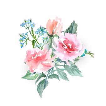 Um buquê de delicadas flores em aquarela, rosas, miosótis. ilustração do vetor em aquarela.