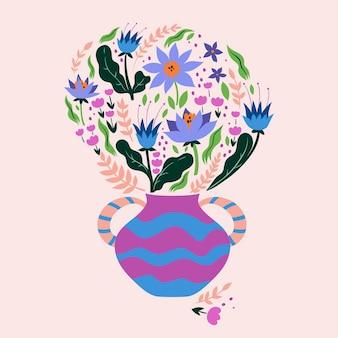 Um buquê de flores em um vaso. gráficos vetoriais. Vetor Premium