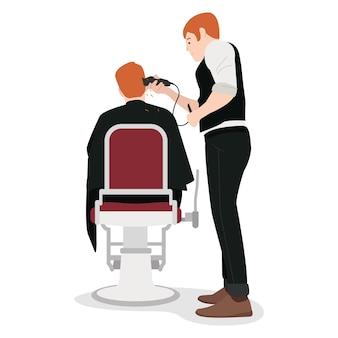 Um cabeleireiro profissional está raspando o cabelo de uma cliente