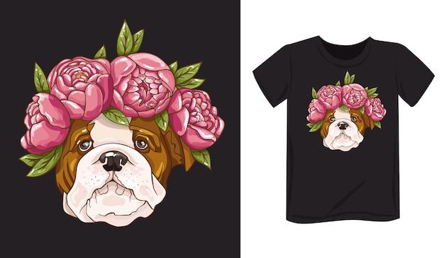 Um cachorro com flores bulldog em peônia impressão no fundo do pôster de roupas handdrawn