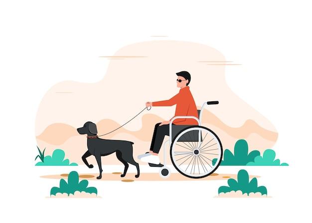Um cachorro e um homem deficiente em uma cadeira de rodas. caminhando com ilustração de cão-guiando.