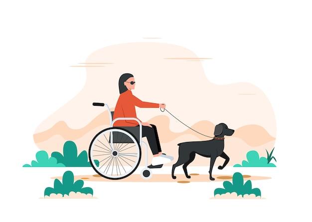 Um cachorro e uma mulher negra deficiente em uma cadeira de rodas. andando com o cão-guia.