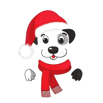 Um cachorro engraçado em um chapéu de papai noel e um lenço com uma franja. ano novo chinês 2018.