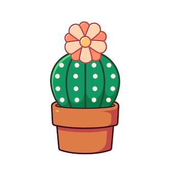 Um cacto fofo em uma panela de barro no estilo de ilustração vetorial plana uma planta suculenta