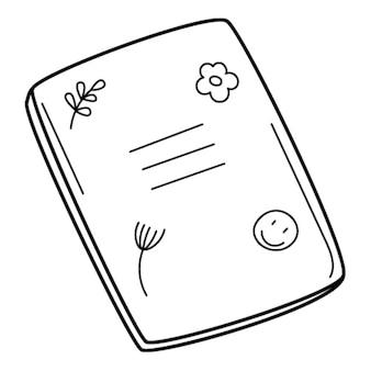 Um caderno escolar com desenhos. doodle. ilustração em vetor preto e branco desenhada à mão.