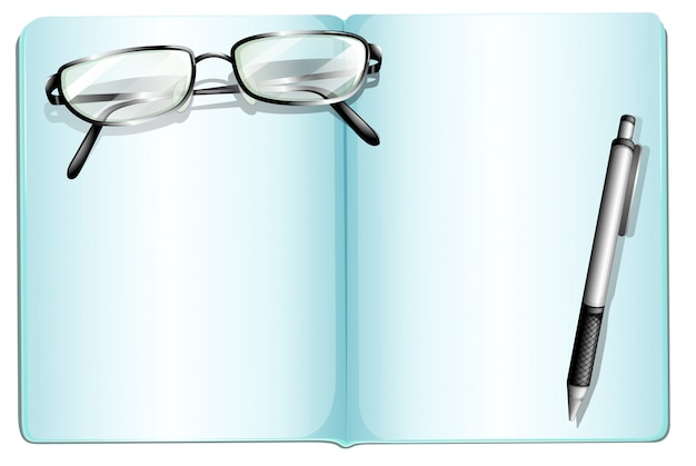 Um caderno vazio com um óculos e uma caneta