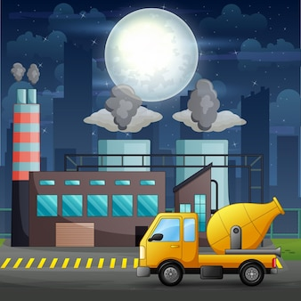 Um caminhão betoneira na frente da ilustração do canteiro de obras