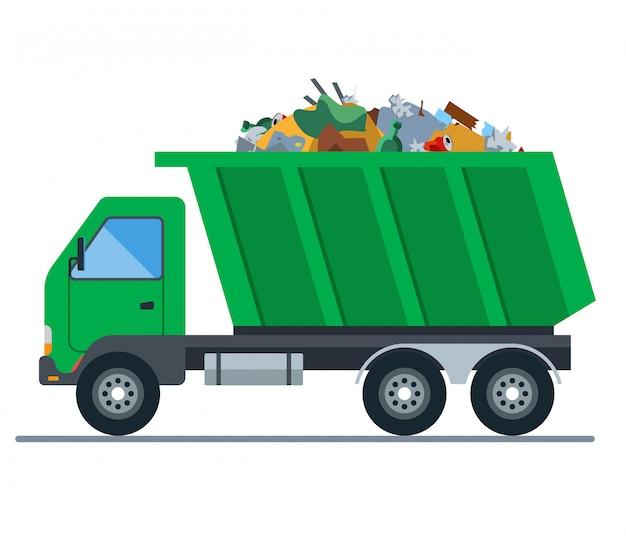 Um caminhão carregado com lixo vai para um aterro sanitário. ilustração plana