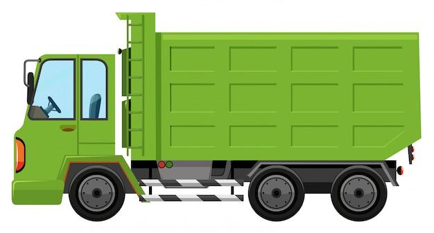 Um caminhão de lixo no fundo branco