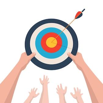 Um caminho de sucesso para alcançar uma meta luta competitiva ou ajuda no caminho para a meta