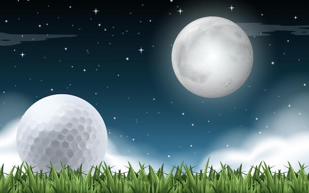 Um, campo golfe, noturna, tempo