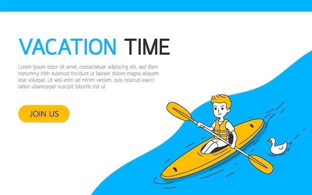 Um, canoas homem, em, a, rio, simples, e, limpo, doodle, vetorial, ilustração