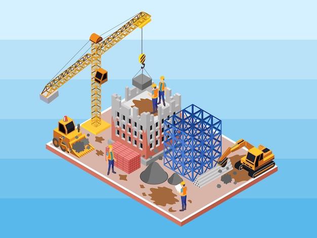 Um canteiro de obras sujo com alguns engenheiros, trabalhadores e construtor