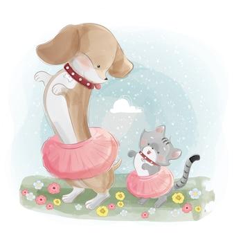 Um cão de salsicha dançando com o gatinho pequeno