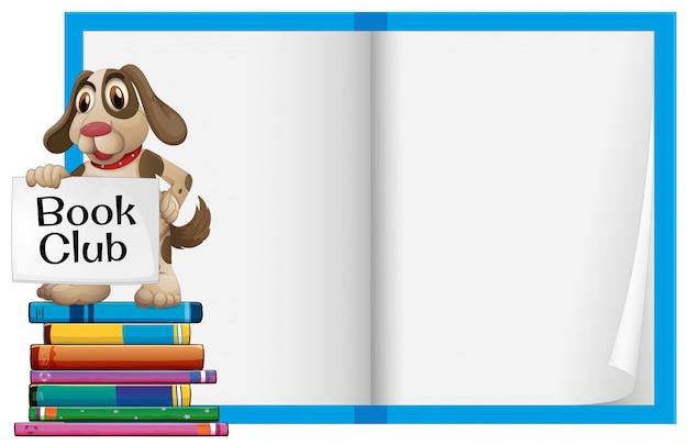 Um cão e caderno em branco