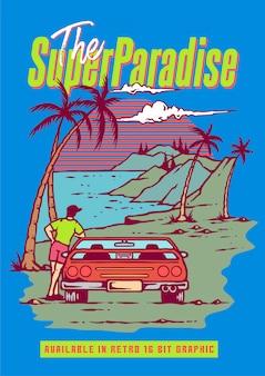 Um cara com carro esporte retrô, aproveitando a temporada de verão na praia e montanha em videogame retrô dos anos 80