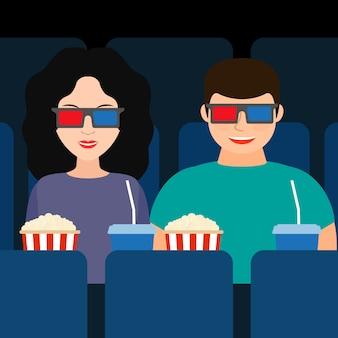 Um cara e uma garota no cinema em óculos 3d com pipoca e bebidas