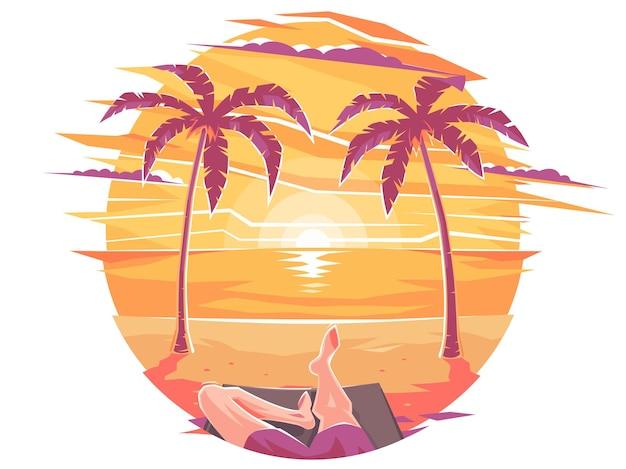 Um cara em um maiô ilumina-se deitado em uma espreguiçadeira em uma praia de mar ou oceano sob palmeiras. bebe um coquetel sob uma palmeira. verão ou férias luxuosas. zakad sob palmeiras na praia.