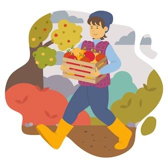 Um cara feliz com um chapéu e botas de borracha carrega uma caixa de madeira com maçãs maduras do jardim