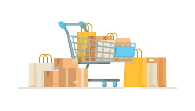 Um carrinho com sacolas e caixas na saída da loja. compra de bens ou alimentos. ilustração de um carrinho de compras. uma viagem de compras até a loja.
