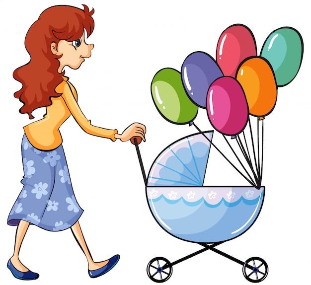 Um carrinho de bebê e menina