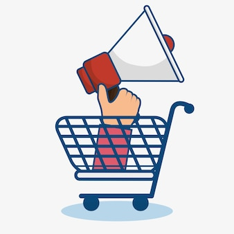 Um carrinho de compras azul e uma mão que prende um megafone sobre o fundo branco. ilustração vetorial.