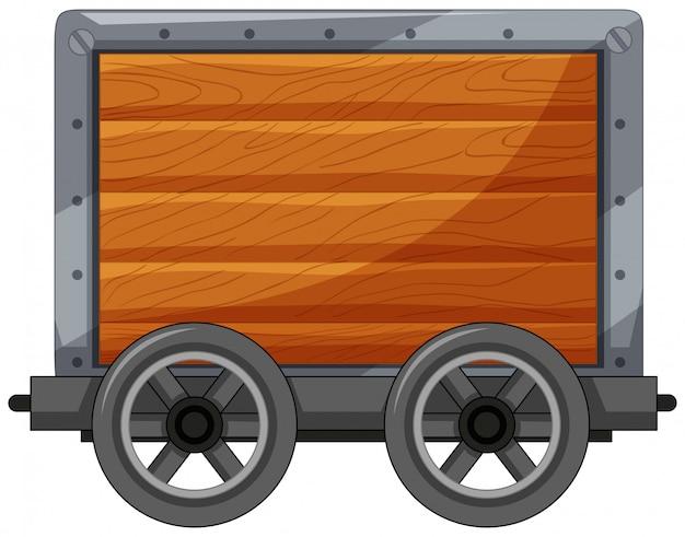 Um carrinho de madeira no fundo branco