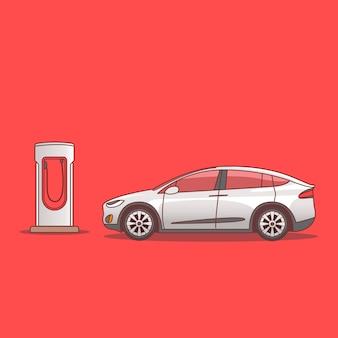 Um carro elétrico estacionado perto de uma estação de carregamento isolada em vermelho