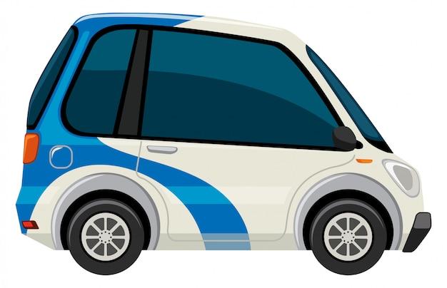 Um carro elétrico no fundo branco