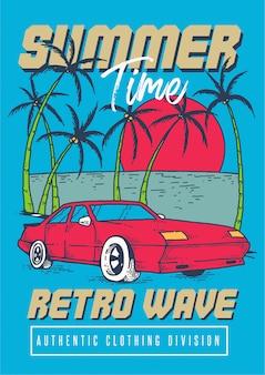 Um carro esporte retrô na praia tropical com pôr do sol e coqueiros na temporada de verão na ilustração de estilo retro dos anos 80