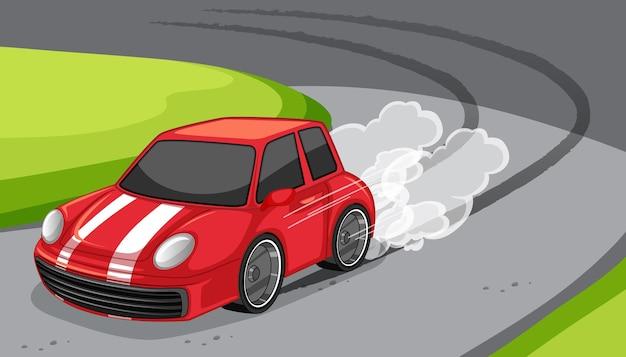 Um carro vermelho dirigindo na cena da estrada