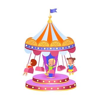 Um carrossel com balanços ilustração vetorial em um fundo branco parque de diversões.