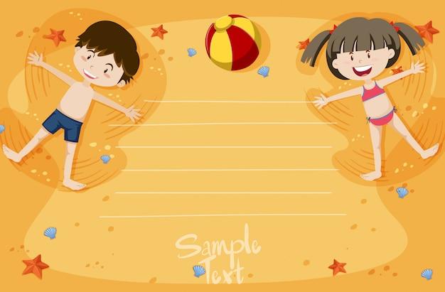 Um, cartão, com, menino menina, verão, férias